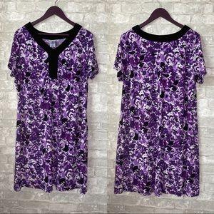 💥Just My Size purple floral dress v neck
